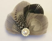 Peacock Hair Clip Smoke and Slate Feather and Rhinestone Wedding Hair Fascinator Clip Bridal Party with Pearl rhinestone button