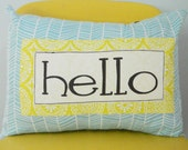 Hello Pillow Cover 12x16, blue and yellow