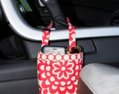 50% Off - Ready To Ship, Car CELLPHONE Caddy, Amy Butler Lotus Cherry, Cherry Dots Band, REGULAR Height, CENTER Console Handle