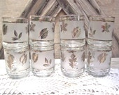 Sliver Etched Glasses Crystal Set of Eight Juice Glasses Libby Autumn