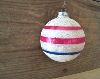 Shiny Brite Christmas Ornament Jumbo Sparkling White Flocking with Pink and Blue Stripes Shiny Brite Ornament
