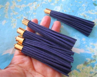 10pcs 80mm Bright Gold Metal Cap--navy blue Suede Leather Ear Tassel charms