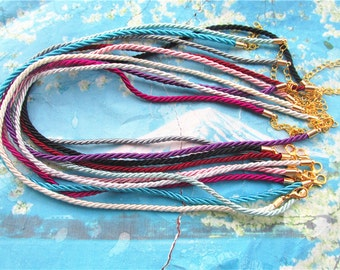 New come-- 100pcs 16-18 inch 3mm assorted(20 different colors) braided silk choker necklace cords with round Gold plated finish