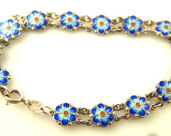 Enamel Flower Bracelet - Sterling Silver - Vintage