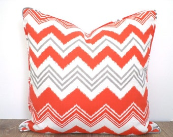 Orange outdoor pillow cover 18x18 zigzag print, chevron cushion for lounge chair, geometric outdoor pillow case gray and orange cushion