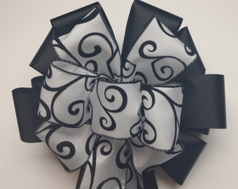 Wedding Pew Bows White with Black Scroll Satin Wired Ribbon over Acetate Satin Ribbon