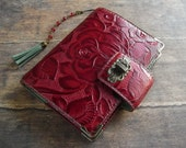 leather binder, red rose, handstitched, red diary, leather planner, red journal, rose planner, for filofax refills, red planner