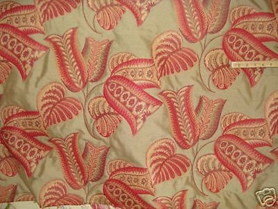 Home Decor Fabrics By The Yard: Red Green Gold Tan MERLOT FLORAL Woven Upholstery Fabric