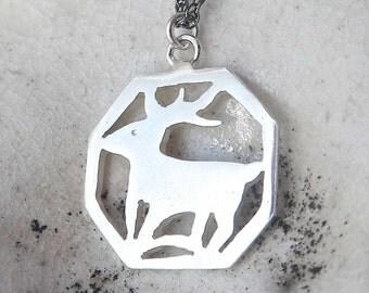 Sterling Silver Deer Necklace