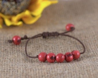 Red Acai Bead Bracelet and Brown Bamboo Cord, boho chic, natural, organic, stacking bracelet, adjustable. linen bracelet