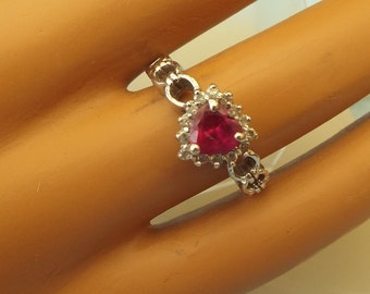 Vintage Sterling Silver Heart Shaped Ruby Gemstone Ring, Size 7