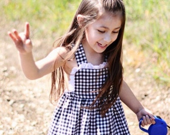 Vintage Inspired Girl's Black Gingham Pinafore Dress 4t Ready to Ship