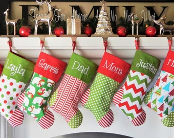 Personalized CHRISTMAS STOCKINGS  Set of 9 You choose your favorite 9 Christmas stockings