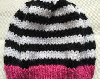 IN STOCK - Baby Toddler Child Adult Black & White Striped Hat with Pop of Color