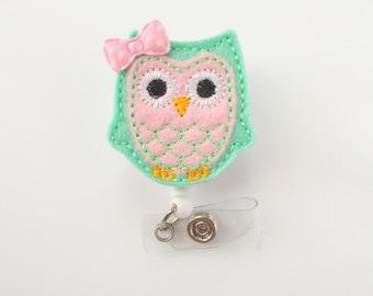 Pink and Mint Green Owl with Bow - Retractable ID Felt Badge Holder - Cute Badge Reel - Nurses Badge Holder - Nurse Badge - Teacher Badge