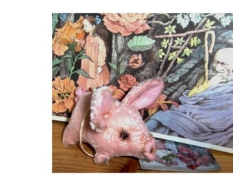 Artist collectables, pocket piggies 3inches German mohair. glass bead eyes