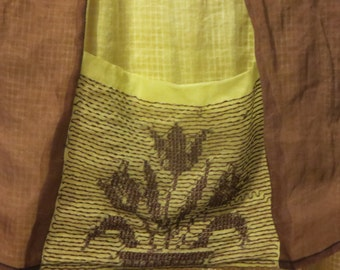 Vtg 50s Sheer Color Blocked Brown and Yellow Green Organza Floral Embroidered Pocket Hostess Boudoir Half Apron