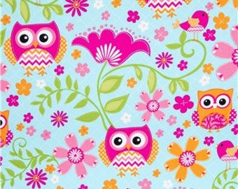 Turquoise pink Owls fat quarter, 1/2yard. or by the  yard Cotton  quilting apparel fabric