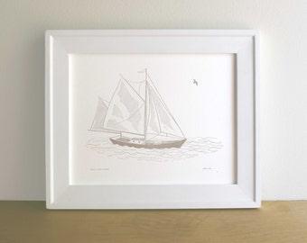 Sailboat, Figure I, Letterpress Print (Warm Grey)