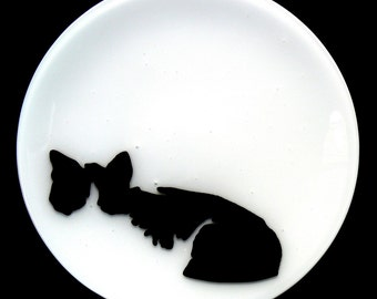 Black and White Cat Fused Plate 3