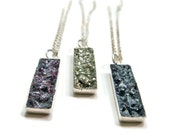 Crushed Stone Druzy Rectangle Sterling Silver Necklace