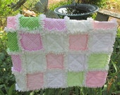 Baby girl rag quilt shabby chic green and pink