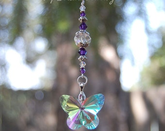 Purple Swarovski and Butterfly Crystal Suncatcher, Rearview Car Charm, Window Decoration