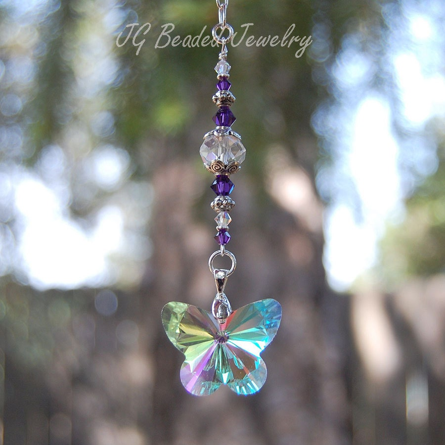 Purple swarovski and butterfly crystal suncatcher rearview for Swarovski decoration crystals