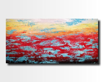 "Original Large oil  painting- 24 X 48""-by Artist JMJartstudio-Turmoil -Wall art-wall decor - Red and turquoise painting-Oil painting"