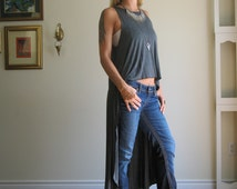 Asymmetric Muscle Tee Hi Lo Hem Tank Fit and Flare Top Swing Tunic Long Version - Rayon/Spandex Jersey - XS/S or M or L/XL - (More Colours)