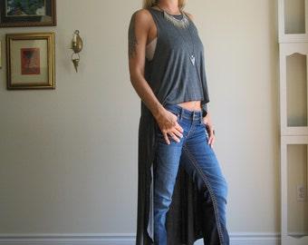 Asymmetric Summer Tank / Top / T Shirt Hi Lo Hem Maxi / Cropped Top Swing Tunic Long - Rayon/Spandex Jersey - XS - XL - (More Colours)