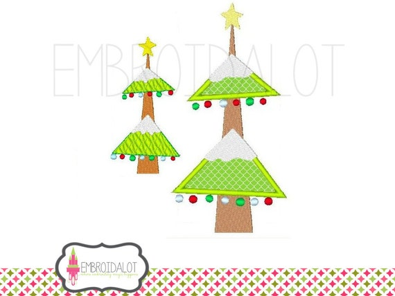 Chirstmas tree applique embroidery design modern and festive