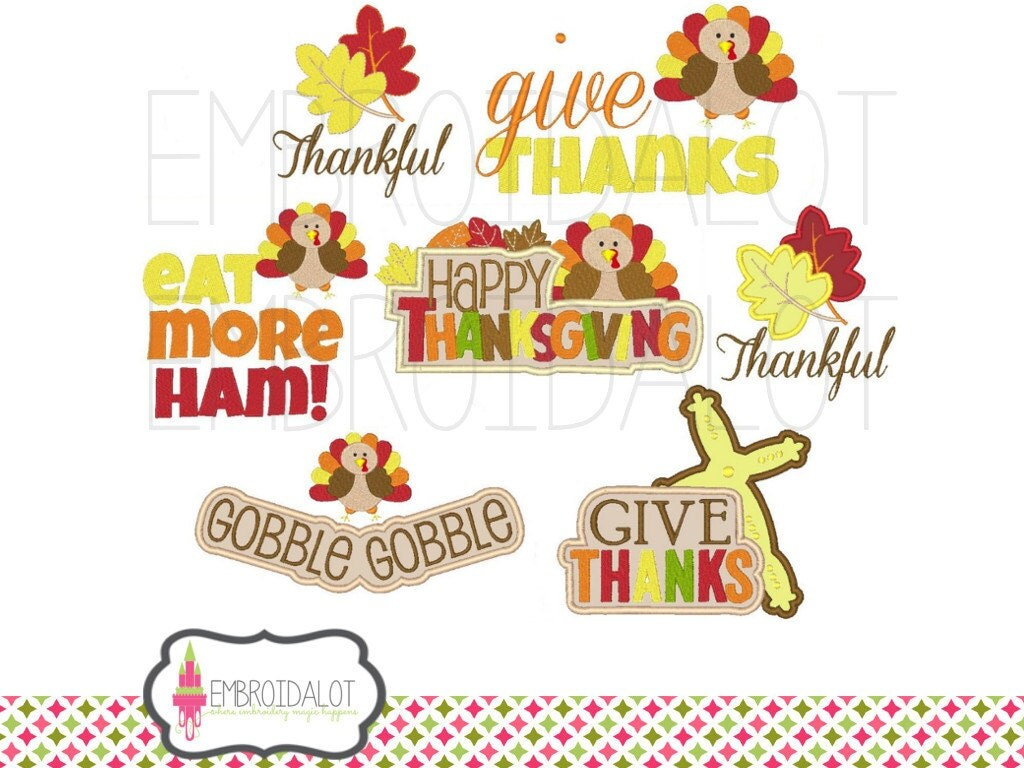 Thanksgiving machine embroidery design set fall applique and