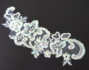 Vintage White Lace Appliques - with Iridescent Sequins and Pearls - Recycled