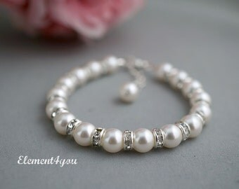 Child bracelet, Flower girl bracelet, Pearl bracelet, Swarovski pearls, Rhinestone, Simple bracelet, Wedding party gift, Flower girl jewlery