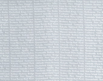 Ella Blue Basic cotton quilt fabric white text on grey - word text print