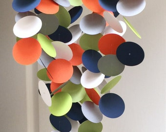 Baby Mobile in Navy, Orange, Green, White and Grey, OR Custom colors, modern mobile, Crib mobile, baby room