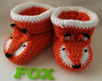 Baby Booties, Fox, NB to 6 Months Finely Finished Crochet Baby Gift