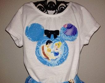 Cinderella twirly skirt & shirt set perfect for Disney, Disney Cruise, Minnie Mouse Birthday party