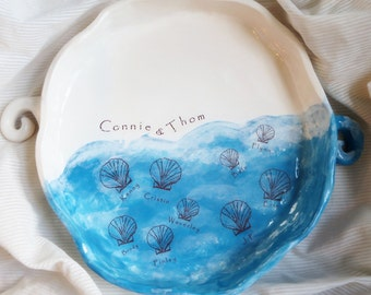 Personalized Gift, Wedding Gifts for Couple, Personalized Platter, Personalized Pottery, Ocean, Sea, Sea shell, 9th Anniversary Gift,