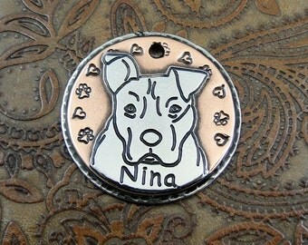 Pit Bull ID Dog Tag,Personalized Smiling Pit Bull Pendant,Dog ID Tag,Dog Collar ID Tag