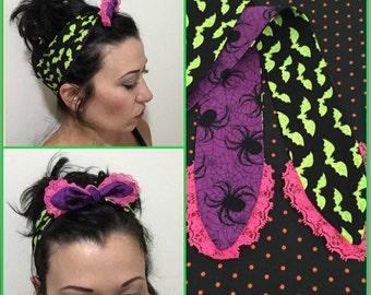 Halloween Bandana Head Wrap Spiders and Bats Green Pink Purple Lace