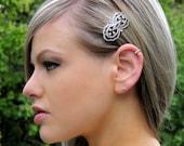 Vintage Victorian Inspired Bridal Rhinestone Side Hair Clip Round Barrette Small
