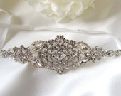 Kate Wedding bridal headpiece crystal headband headpiece satin ribbon rhinestome headband side