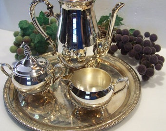 Vintage Silver Image 4 Piece Silver Plated Coffee Service Set