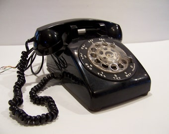 Vintage 50s Western Electric Black Rotary Phone Retro Photo Prop Decor Mid Century