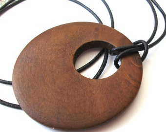 Brown Wooden Necklace, Boho Necklace, Tribal Necklace, Black Leather Cord, Donut Necklace, Natural, Ethnic