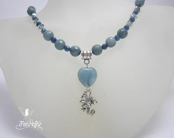Aquamarine Heart Dragon necklace inspired by Daenerys Targaryen