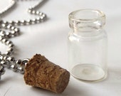 "empty diy miniature glass bottle necklace 24"" silver ball chain vial cork mini small jewelry make your own fillable create craft charm"