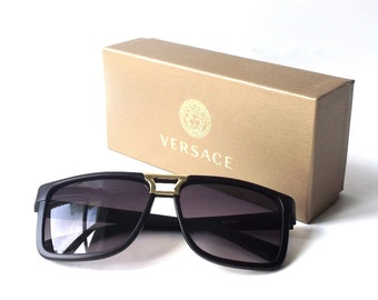 versace designer sunglass box gift storage neutral gold beige supplies for sunglasses accessories jewelry store him her medium rectangular